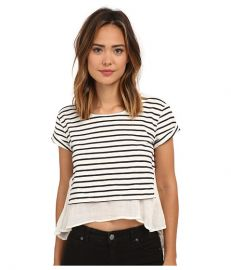 Free People French Kiss Tee Navy Combo at Zappos