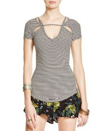 Free People Frenchie Striped Cutout Top at Bloomingdales