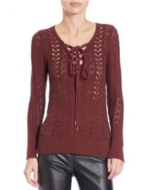 Free People Ginger Cross Tie Sweater in Red at Nordstrom