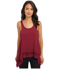 Free People Hi-Low Outlined Cami Rich Berry at Zappos