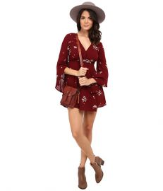 Free People Jasmine Embroidered Mini Dress Marsala Combo at Zappos