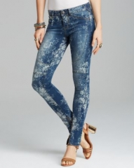 Free People Jeans - Floral Printed Elle Skinny in Indigo at Bloomingdales