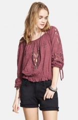 Free People Jewel Eyelet Peasant Top in Dark Berry at Nordstrom