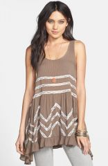 Free People Lace Trim Trapeze Slipdress in Sequoia at Nordstrom