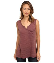 Free People Linen Stripe Jersey Weekend Warrior Henley Brick Combo at 6pm
