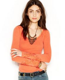 Free People Masquerade Cuff Long-Sleeve Thermal Tee at Macys