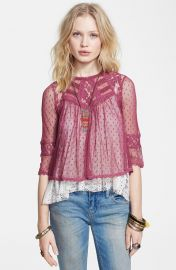 Free People Modern Romance Layered Lace Top in Pink at Nordstrom