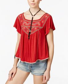 Free People Muse Embroidered Peasant Top at Macys