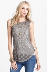 Free People Not So Sweet Lace Tank in grey at Nordstrom