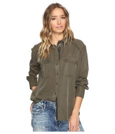 Free People Off Campus Button Down Moss at Zappos