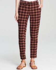 Free People Pants - Crinkle Plaid Pegged at Bloomingdales