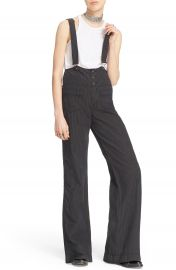 Free People Pinstripe Flare Overalls at Nordstrom