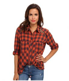 Free People Plaid Lace Up Button-Down Denim Combo at 6pm