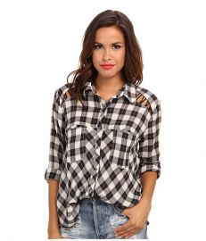 Free People Plaid Lace Up Button-Down Ivory Combo at 6pm