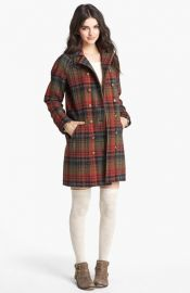Free People Plaid Wool Peacoat at Nordstrom