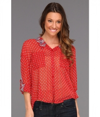 Free People Print Easy Rider Button Up Red Combo at 6pm