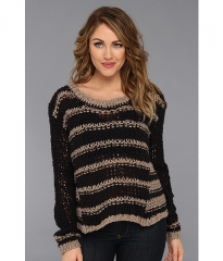 Free People Provence Striped Pullover Black Combo at Zappos