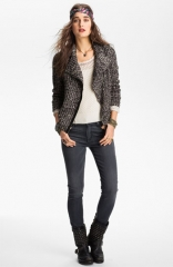 Free People Salt andamp Pepper Knit Biker Jacket at Nordstrom