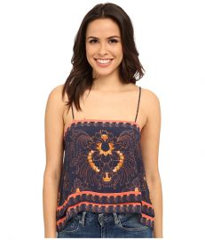 Free People Scarf Print Tank Top Indigo Combo at 6pm