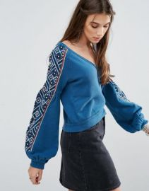 Free People Senorita Embellished Sweatshirt at asos com at Asos