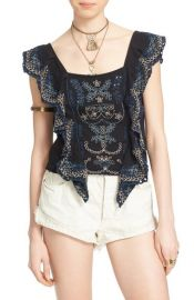Free People Shake Baby Shake Embroidered Ruffle Top in Black at Nordstrom