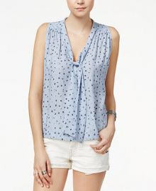Free People Sleeveless Tie-Neck Blouse at Macys