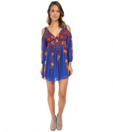 Free People So Nice Chiffon Penny Lover Mini Dress Cobalt Combo at 6pm