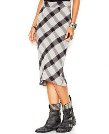 Free People Stretch Textured Plaid Geometric Precision High-Low Pencil Skirt - Skirts - Women - Macys at Macys