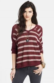 Free People Stripe Pointelle Dolman Sleeve Sweater at Nordstrom