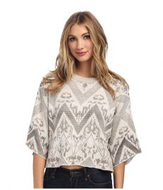 Free People Superstar Pullover Sweater Ivory Combo at 6pm