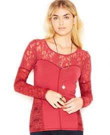 Free People Sweet Thang Long-Sleeve Cross-Back Lace-Paneled Top - Tops - Women - Macys at Macys