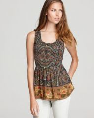 Free People Tank - Printed Smocked Chiffon at Bloomingdales