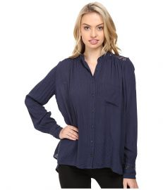 Free People The Best Button Down Navy at Zappos