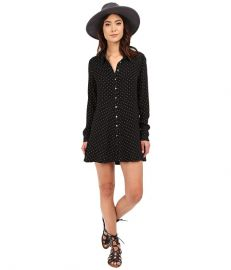 Free People This Town Button Down Black Combo at Zappos