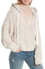 Free People Tierra Cable Knit Hoodie at Nordstrom