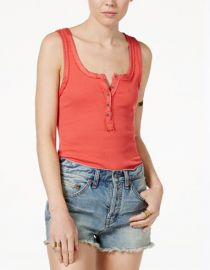 Free People Time Out Henley Tank Top in Coral at Macys