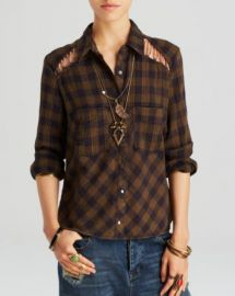 Free People Top - Lace Up Plaid at Bloomingdales