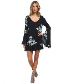 Free People Wanderer Mini Dress Charcoal Combo at Zappos