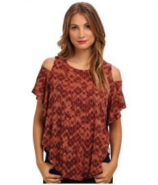 Free People Women s Seamed Cold Shoulder Top Burnt Orange at Amazon