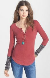 Free People and39Alpine Cuffand39 Knit Cuff Henley in Crimson at Nordstrom