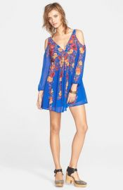 Free People and39Penny Loverand39 Chiffon Cold Shoulder Mini Dress at Nordstrom
