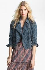 Free People and39Punchedand39 Denim Biker Jacket at Nordstrom