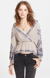 Free People and39Stitch Up Your Heartand39 Embellished Surplice Top at Nordstrom