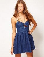 Free People denim bustier dress at ASOS at Asos