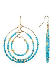 Free Press Seed Bead Multi Layer Open Hoop Dangle Earrings at Nordstrom