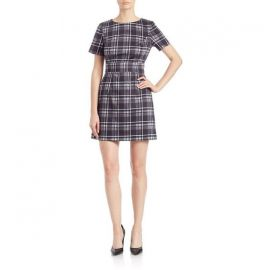 French Connection Plaid Sheath Dress in Black at Nordstrom