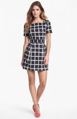 French Connection Print Fit andamp Flare Dress in black at Nordstrom