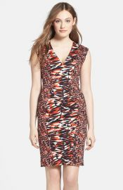 French Connection Print Stretch Cotton V-Neck Sheath Dress at Nordstrom
