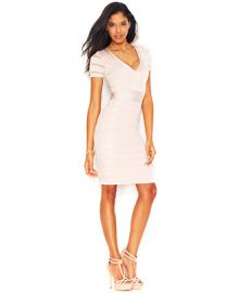 French Connection Short-Sleeve V-Neck Body-Con Bandage Dress - Dresses - Women - Macys at Macys