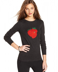 French Connection Sweater Long-Sleeve Crew-Neck Sequined Strawberry Top - Sweaters - Women - Macys at Macys